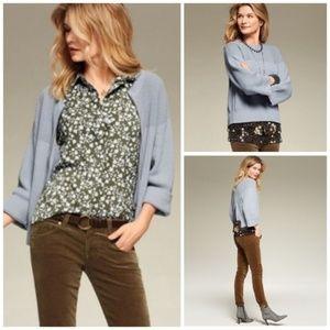 CAbi Light Blue Fair Play zip Back Sweater S